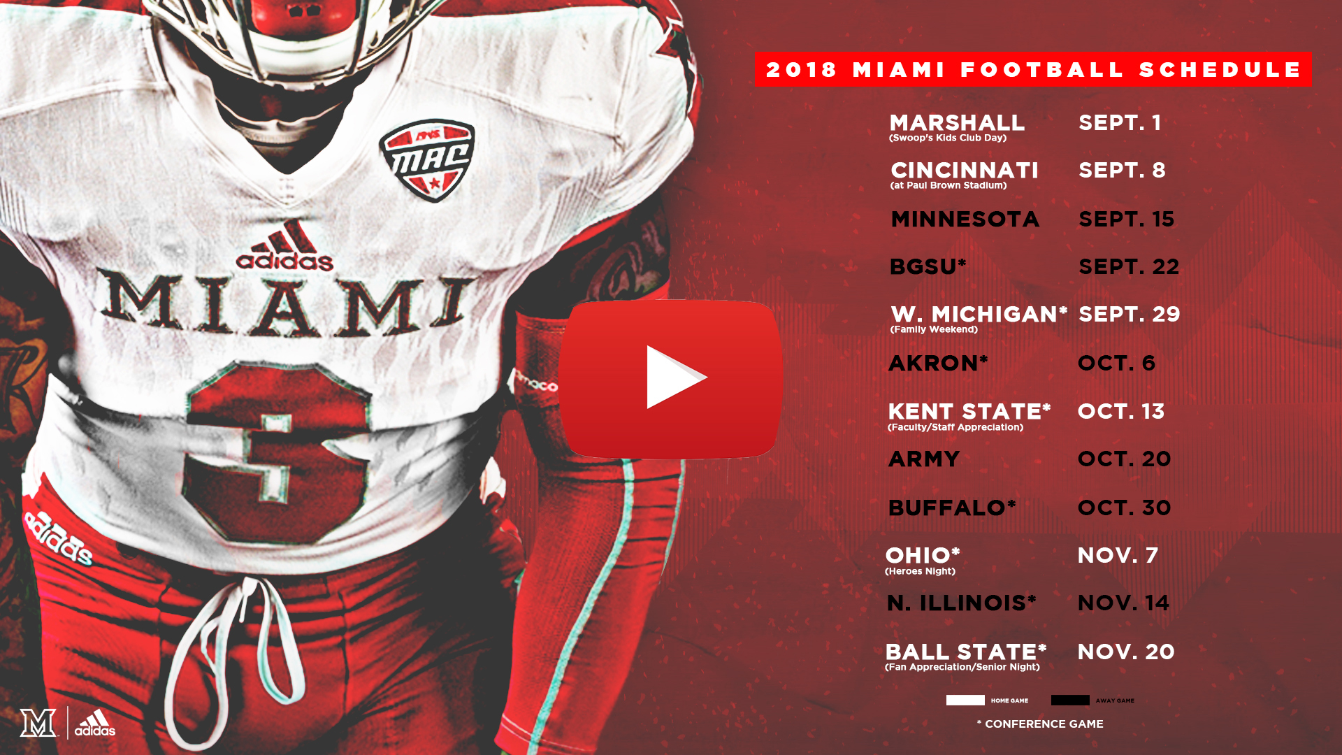 Miami Announces 2018 Football Schedule
